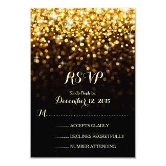 För Hollywood för guld svart bröllop OSA för Glam 8,9 X 12,7 Cm Inbjudningskort