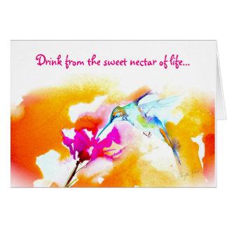 """För Hummingbirdfödelsedag """"för söt Nectar"""" kort"""