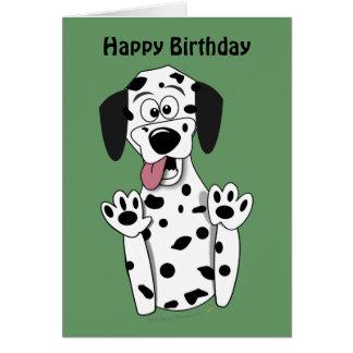 För hundfödelsedag för gullig tecknad Dalmatian Hälsningskort