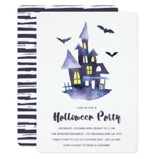 För hushalloween fest för vattenfärg spöklik 12,7 x 17,8 cm inbjudningskort