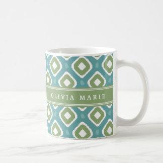 För Ikat för blått grönt mönster mod med namn Kaffemugg