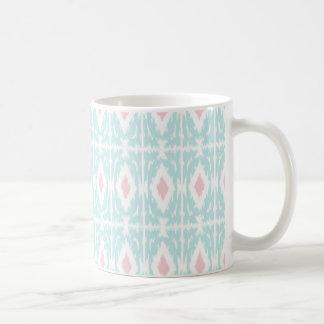 För Ikat för blått rosa mugg för kaffe mönster