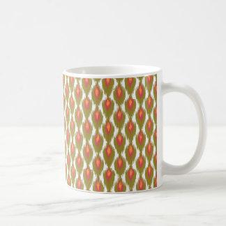 För Ikat för grön magentaabstrakt stam- mönster Kaffemugg