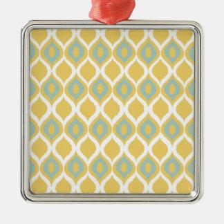 För Ikat för gul Mint geometriskt mönster stam- Silverfärgad Fyrkantigt Julgransprydnad