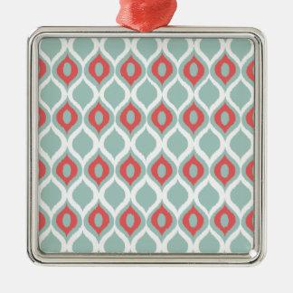 För Ikat för korall och för Mint geometriskt Silverfärgad Fyrkantigt Julgransprydnad