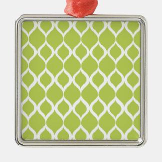 För Ikat för limefrukt grönt geometriskt mönster Silverfärgad Fyrkantigt Julgransprydnad