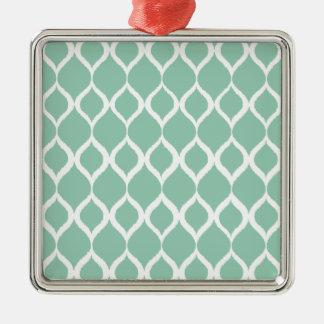 För Ikat för Mint grönt geometriskt mönster stam- Silverfärgad Fyrkantigt Julgransprydnad