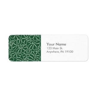 För Ikat för Monogram grönt nyckfullt mönster för Returadress Etikett