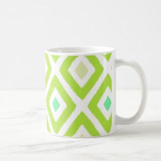 För Ikat för Pear grönt mönster diamant Kaffemugg