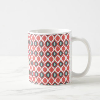 För Ikat för röda blåttgrått geometriskt mönster Kaffemugg