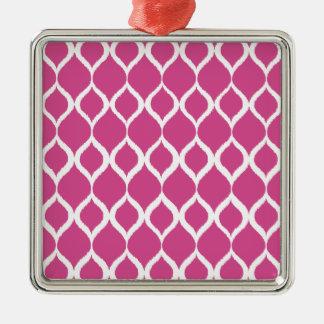 För Ikat för shock rosa geometriskt mönster stam- Silverfärgad Fyrkantigt Julgransprydnad