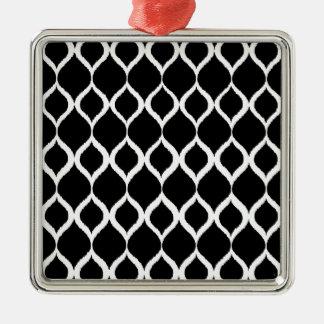 För Ikat för svart vit geometriskt mönster stam- Silverfärgad Fyrkantigt Julgransprydnad