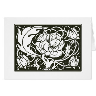 För illustrationtack för art nouveau blom- kort