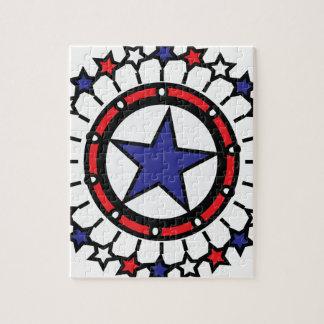 För independence daymarin för stjärnor rött vitt pussel