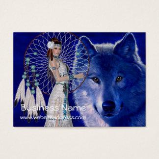 För indiankvinna- & varg D2 visitkortar Visitkort