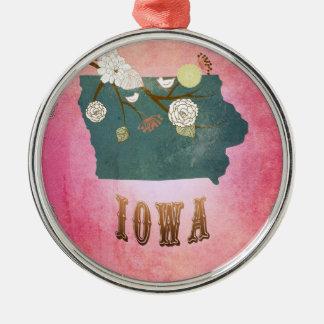 För Iowa för modern vintage rosor för godis Julgransprydnad Metall