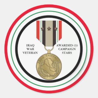 FÖR IRAK FÖR 3 KAMPANJSTJÄRNOR VETERAN KRIG RUND KLISTERMÄRKE