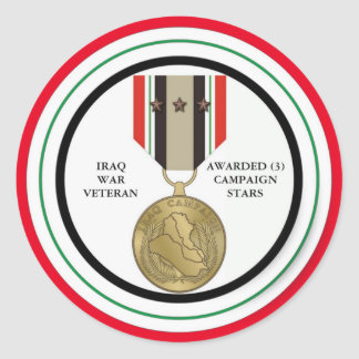 FÖR IRAK FÖR 3 KAMPANJSTJÄRNOR VETERAN KRIG RUNT KLISTERMÄRKE