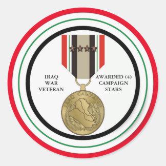 FÖR IRAK FÖR 4 KAMPANJSTJÄRNOR VETERAN KRIG RUNT KLISTERMÄRKE