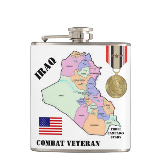 FÖR IRAK FÖR TRE KAMPANJSTJÄRNOR FLASKA VETERAN