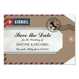 För italien för bagagemärkre flygpost spara datera 8,9 x 12,7 cm inbjudningskort