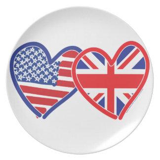 För jackflagga för amerikanska flaggan fackliga hj tallrik