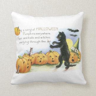 För jackO för svart katt ledande Halloween lykta Kudde