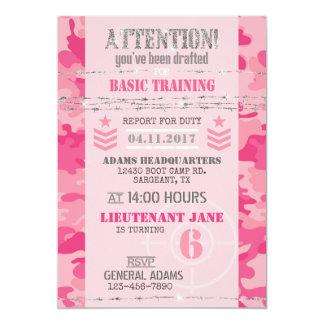 För Jane för armé rosa soldat- födelsedag för 12,7 X 17,8 Cm Inbjudningskort
