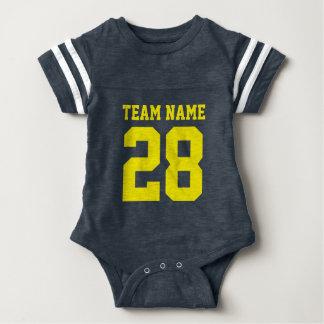 För Jersey för fotboll för blåttgultbaby Romper T Shirt