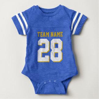 För Jersey för fotboll för blåttvitbaby Romper T-shirt