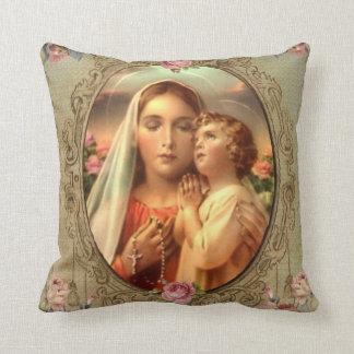 För Jesus för jungfrulig morMary baby ro guld- Kudde