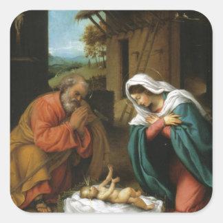 För Jesus för NativityKristusbaby Scripture Fyrkantigt Klistermärke