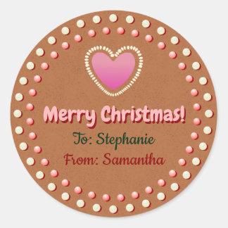 För julaftongåva för pepparkaka kaka skräddarsy runt klistermärke