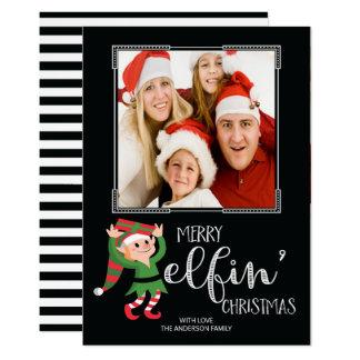 För julfamilj för rolig älva Elfin kort för foto 12,7 X 17,8 Cm Inbjudningskort