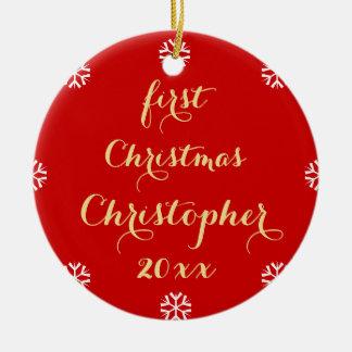 För julfauxen för den beställnings- babyen skrivar julgransprydnad keramik