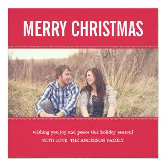 För julfoto för bred skärm röda kort för lägenhet fyrkantigt 13,3 cm inbjudningskort