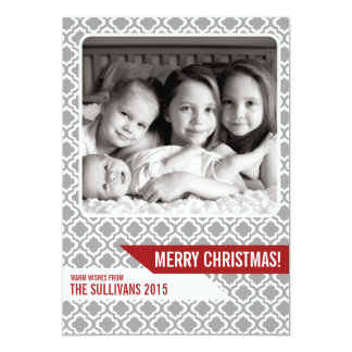 För julfoto för grått marockanskt mönster modernt 12,7 x 17,8 cm inbjudningskort