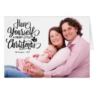 För julfoto för svart text glatt lite kort