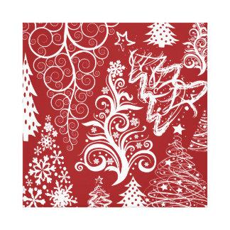 För julgranjulafton för festlig helgdag rött canvastryck