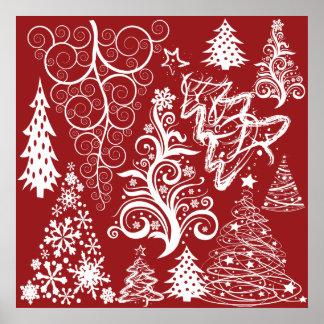 För julgranjulafton för festlig helgdag rött poster