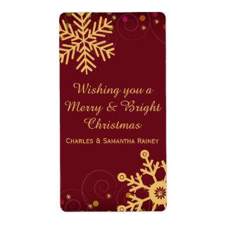 För julhelgdag för guld- snöflingor röd etikett fraktsedel