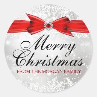För julhelgdag för snöre & för pilbågesilver röd runt klistermärke