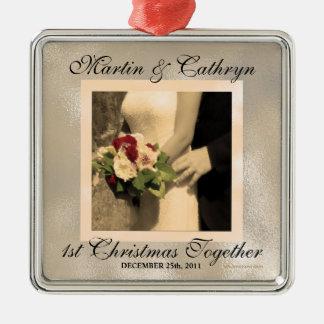 För julkund för ny gifta 1st år silverfärgad fyrkantigt julgransprydnad