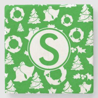 För julMonogram för anpassningsbar grönt underlägg