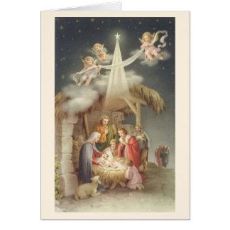 För julNativity för vintage religiöst kort för