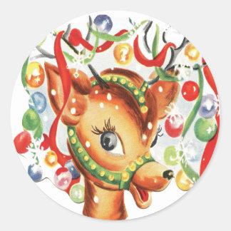 För julren för vintage Retro konfettiar Runt Klistermärke
