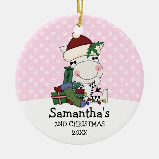 För julSanta för flicka 2nd personlig sebra Jul Dekorationer