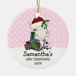 För julSanta för flicka 2nd personlig sebra Julgransprydnad Keramik