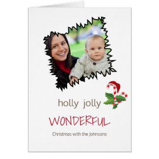För julsingel för järnek Jolly mall för foto Hälsningskort