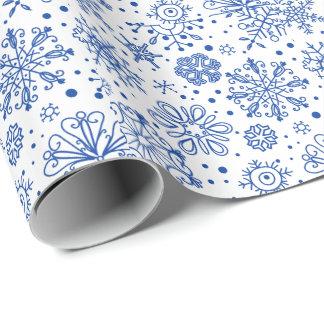 För julsnöflingor för blått abstrakt mönster presentpapper
